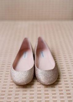 Silver Sparkly Wedding Flats ♥ Glitter Bridal Flats | Gümüş Rengi Parlak Abiye Babetler