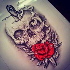 Skulls and Roses Skull Rose Tattoos, Leg Tattoos, Body Art Tattoos, Sleeve Tattoos, Cool Tattoos, Tattoo Roses, Tattoo Sketches, Tattoo Drawings, Tattoo Caveira