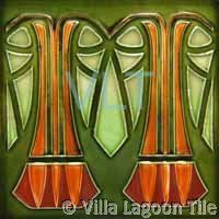 Art Deco Relief Tile Green Orange, from www.villalagoontile.com.  Site is full of GREAT tiles!