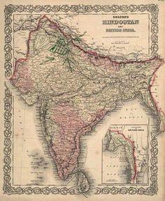 Items similar to Hindostan Or British India - Original Antique Handcolored Engraving Map Of Hindostan Or British India, by JH COLTON on Etsy