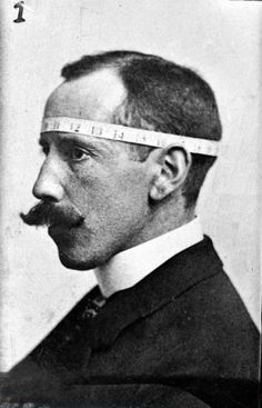 Phrenologist Bernard Hollander illustrating with his own head his system of cranial measurements, cq. 1902