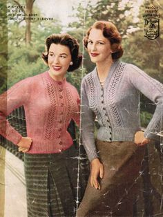 Lace cardigan knitting pattern 1950s