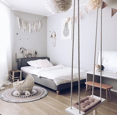 Sunday room inspo with our fairy house light - luise Bedroom Swing, Teen Bedroom, Bedroom Inspo, Bedroom Decor, Bedroom Ideas, Bunk Rooms, Welcome To My House, Sweet Home, Daughters Room