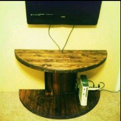 Side table wooden electrical spool DIY
