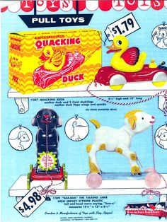 Vintage Toy Box: 1950's Knickerbocker Animal Pull toys advertisement Flyer