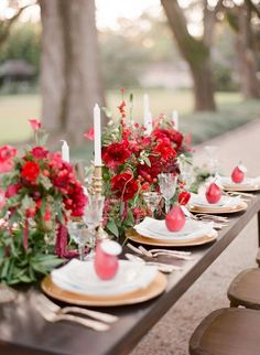 Red, scarlet, berry, wine, here are gorgeous ideas we would love to see at a red themed party or wedding here at VENUE Wedding Reception Flowers, Red Wedding Flowers, Wedding Colors, Red Table Settings, Wedding Table Settings, Red Wedding Decorations, Wedding Themes, Red Table Decorations, Wedding Ideas