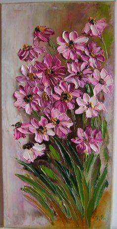 Pink Daisies Impressionism IMPASTO Original Oil Painting Flowers Europe Artist