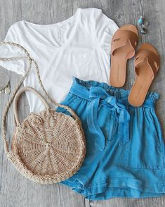 Tate High Waist Chambray Shorts #shoppriceless
