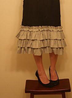 Ruffled Skirt Tutorial. I like the longer skirt.