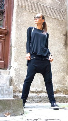 NEW SS/15 Loose Casual Black Drop Crotch Harem Pants / Extravagant Black Pants/ Side zipper pockets /Ribbed leggings part by AAKASHA A05313 by Aakasha on Etsy https://www.etsy.com/listing/252968524/new-ss15-loose-casual-black-drop-crotch
