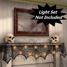 Halloween Party Mantel Door Window Lace Wed Decor Black Spider Cobweb  Runner…