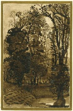 Dark Trees by a Pool  Maker: Palmer, Samuel; draughtsman; British artist, 1805-1881  Category: drawing  Name: drawing  Date: circa 1826 — 1827  School/Style: British  Technique: drawing  Material(s): sepia; medium sepia wash; medium card; support; stuck down