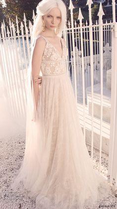 george wu 2016 bridal gowns sleeveless v neckline lace bodice romantic a line wedding dress tulle skirt sweep train (01) mv
