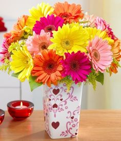 colorful gerbera daisies - love the colors Gerbera Daisy Bouquet, Daisy Flowers, Flower Bouquets, Sunflowers, Burlap Bouquet, Daisy Patches, Daisy Hill, Photo Bouquet, Gerber Daisies