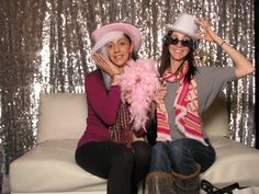 ShutterBooth Open, silver backdrop with a comfy couch!