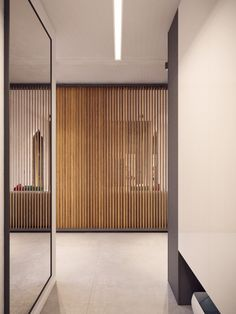 Apartments:Lovable Wooden Room Divider With Wooden Ribs And Large Miroor Also White Wall And Marble Floor Makes The Modern Apartment Feels Cozy And Its Cool Interior Design Of Modern Apartment Remarkable Interior Design Ideas to Modern Apartment in Warsaw, Poland