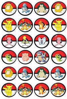 24 Pokemon Edible Cupcake Toppers