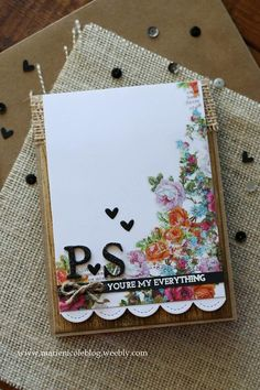 Used a few floral rub ons for this card, as well as some kraft cardstock and burlap from Canvas Corp Brands. The sentiment is stamped and embossed with a stamp from Simon Says Stamp! #SSSFave