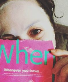 Peek-a-boo I see you! Kristi hiding behind her When Travelmate! Happy October! #whenmask #whentravelmate #october #facemask #sheetmask #skincare