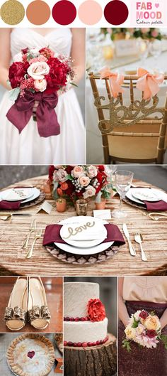 Autumn Wedding Colours – Burgundy and gold | http://fabmood.com/burgundy-gold-peach-wedding-board-autumn-wedding-inspiration/