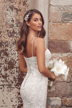Justin Alexander - Style Beaded Lace, embroidery Fit and Flare Gown with Spaghetti Straps Dream Wedding Dresses, Wedding Gowns, Wedding Hair, Lace Wedding, Corsage, Plunging Neckline Style, Justin Alexander, Beaded Lace, Bridal Boutique