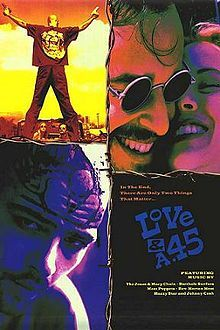 LOVE AND A .45 is a hip electric road trip road movie from hell that takes place on the black top back country roads and highways of the great state of Texas and all the way to Mexico.