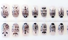 Henna style art nails press on false nails fake nails ud idee deco faux ongles with idee deco faux ongles Henna Nail Art, Henna Nails, Lace Nails, Glue On Nails, Diy Nails, Mandala Nails, Press On Nails, Trendy Nails, Nails Inspiration