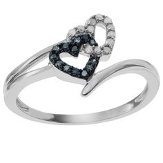 1/4 CT. T.W. Round-Cut Diamond Accent Pave-Set Ring in Sterling Silver (HI-I3) - Blue/White