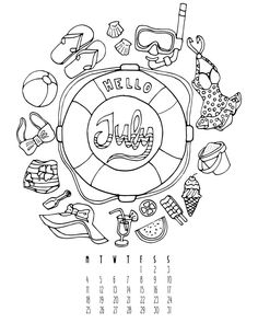 I just added a new Free Printable on my blog. It's a coloring calendar for July…