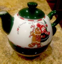 Christmas Tea for One Teapot and Mug Snowman Gingerbread Man Sandi Gore Evans | eBay