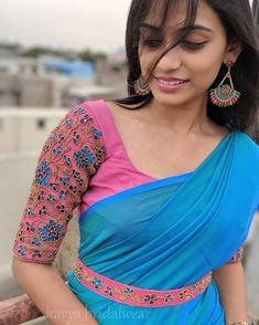 Image may contain: one or more people Cotton Saree Blouse Designs, Best Blouse Designs, Bridal Blouse Designs, Patch Work Blouse Designs, Traditional Blouse Designs, Stylish Blouse Design, Designer Blouse Patterns, Freundlich, Instagram