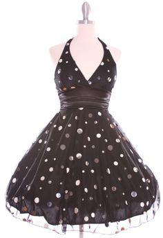 Black White Polka Dot Halter dress #pinup #rockabilly