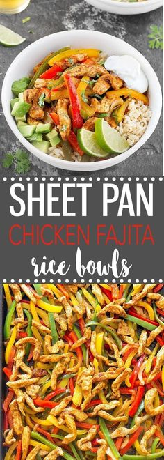 Sheet Pan Chicken Fajita Rice Bowls-  A quick, simple and mouthwatering weeknight dinner that makes great leftovers! #chickenfajita #bowl #easyrecipe #comfortfood   via @easyasapplepie