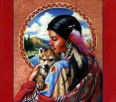 Indian Cross Stitch | Indian Maiden w Wolf Cross Stitch Pat Native American