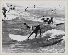Vintage 1967 Black and White Surfing Photo Galveston