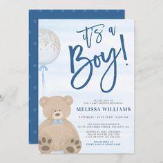 Boy Teddy Bear Blue Balloon Baby Shower Invitation Baby Shower Oso, Cheap Baby Shower, Teddy Bear Baby Shower, Baby Shower Invitations For Boys, Baby Shower Themes, Shower Ideas, Babyshower Invites, Baby Invitations, Invitation Cards