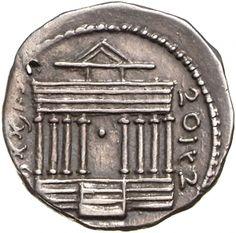 Denario - argento - Utica, Numidia (Tunisia) (50-46 a.C. re Iuba I) - IOBAI HMMLKT (in caratteri punici = re Iuba) fronte di tempio a 8 colonne, nel centro un globo - Münzkabinett Berlin