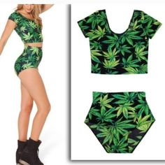 """Cannabis two piece crop top Two piece Mary Jane crop top and bottoms! So cool and sexy!! Is """" one size """" because it stretches and is made of nylon. Could be used as bathing suit as well Tops Crop Tops"""