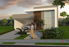 Exterior front entrance decor house plans ideas for 2019 Modern Exterior Doors, Exterior Cladding, Exterior House Colors, Entrance Decor, House Entrance, Modern House Plans, Modern House Design, Facade Design, Exterior Design