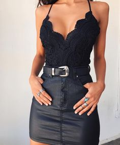 Very Cute Summer Outfit. This Would Look Good Paired With Any Shoes. The Best of summer outfits in 2017 - Herren- und Damenmode - Kleidung Summer Outfits 2017, Cute Summer Outfits, Casual Outfits, Cute Outfits, Spring Outfits, Party Outfit Summer, Dress Outfits, Clubbing Outfits, Black Skirt Outfit Party