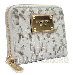 MICHAEL KORS MK Signature  PVC Bifold  Zip Around Vanilla Wallet NWT #MichaelKors #Bifold