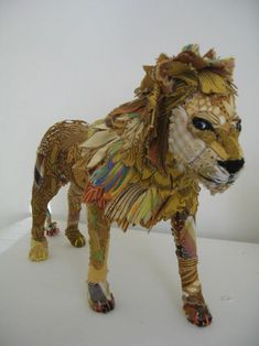 Bryony Jennings is a UK based designer and owner of the shop called Pretty Sc. Fabric Animals, Fabric Birds, Fabric Art, Textile Fiber Art, Textile Artists, Textiles, Soft Sculpture, Lion Sculpture, Trash Art