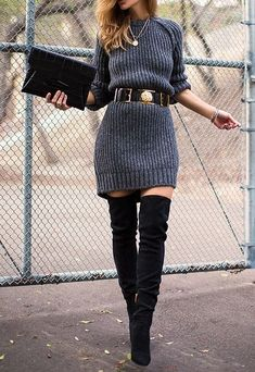 / gray sweater dress + boots - All About Fashion Winter Dress Outfits, Casual Dress Outfits, Mode Outfits, Trendy Dresses, Nice Dresses, Fashion Outfits, Fashion Ideas, Womens Fashion, Fashion Games