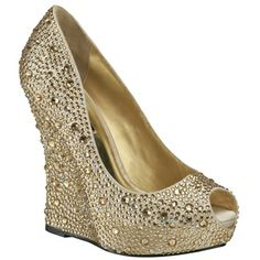 Benjamin Adams Cali Gold Wedge Evening Shoes - Wedding Shoes - Crystal Bridal Accessories