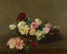 A Basket Of Roses by Henri Fantin-Latour (1880)