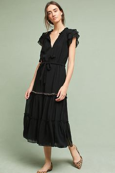 45506637 MISA LA Whitney Short Sleeve V Neck Tasseled Ruffle Midi Dress Black S $322