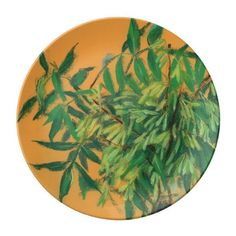 Ash-tree, green yellow summer greenery floral art porcelain plate (160 BRL) ❤ liked on Polyvore featuring home, home decor, wall art, impressionist, yellow leaf trees, yellow wall art, green plate, green leaf plate and yellow tree