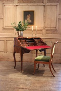 A very elegant and of small size, Louis XV French marquetry bureau desk , ideal for a bedroom. Secret Compartment, Antique Desk, Small Drawers, Marquetry, French Antiques, Dining Table, Bedroom, Elegant, Furniture