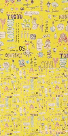 canvas yellow fabric with women and animals, travel conversations, handlettered word art with various destination locations, specially imported from Japan from small makers, 80% cotton, 20% linen, very well made fabric, typical perfect Japanese quality #Linen #Canvas #Animals #AnimalPrint #People #Letters #Numbers #Words #Cats #JapaneseFabrics