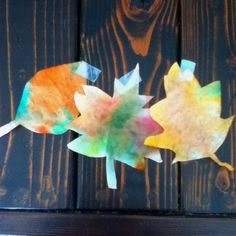 Super easy fall art project for kids: cut coffee filters into leaf shapes, have kids color all over them with washable markers in autumn colors, then squirt with a little water and watch the colors blend together. Perfect to hang in the windows!